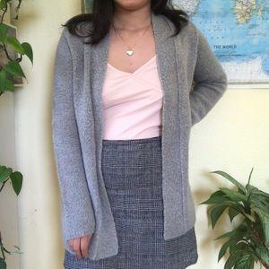 Soft Gray Cardigan Sweater Zara Cozy Grey Knit Top